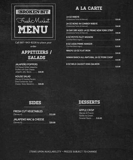 Fresh Market Menu